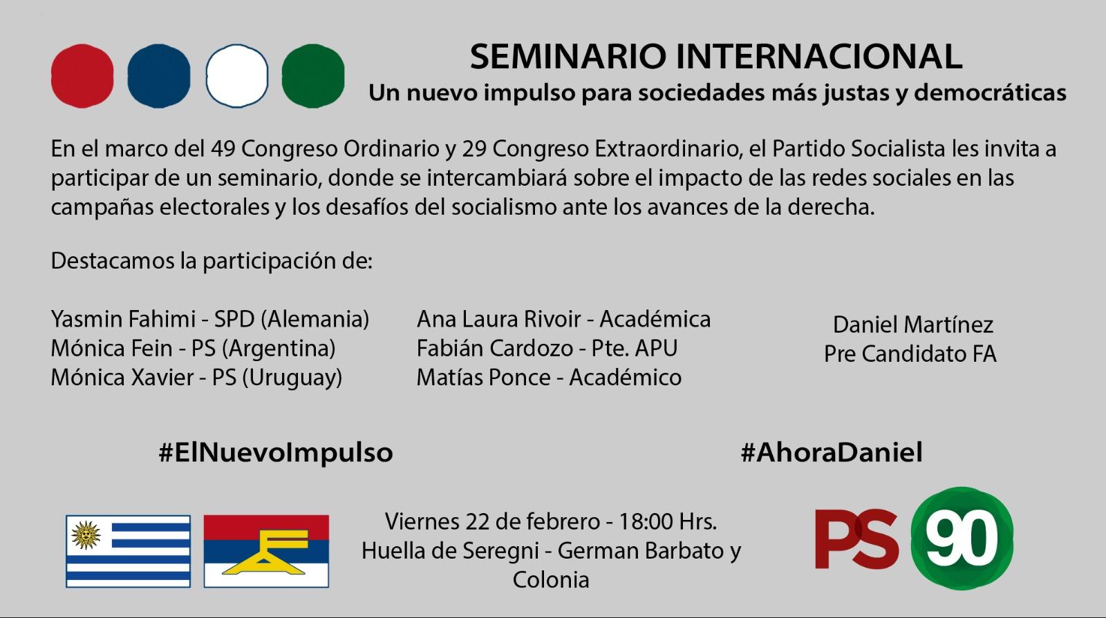 Un Nuevo Impulso Para Sociedades Más Justas Y Democráticas. #SeminarioInternacionalPS